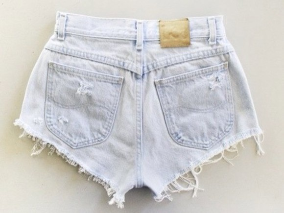 shorts light wash denim distressed