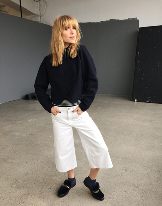 look de pernille blogger culottes black jacket loafers