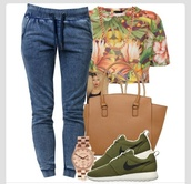 demin,pants,demin jeans,shirt,green,jewels,t-shirt,shoes,bag,tropical,forest green,blouse