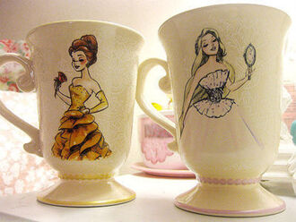 jewels rose beauty and the beast cup mug princess tangled rapunzel pink yellow coffee dress