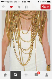 top,beyond the lights,body chain,gold