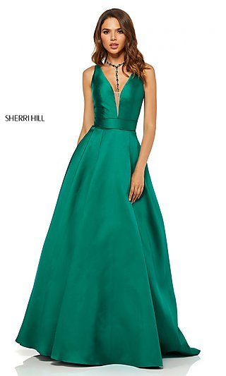 Long A-Line Designer Prom Dress with a Caged Back