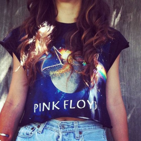 pink floyd shirt t-shirt black blouse pink triangle high waisted short long hair shorts