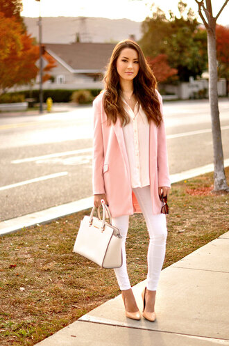 hapa time blogger jewels blouse jeans bag sunglasses shirt coat pink