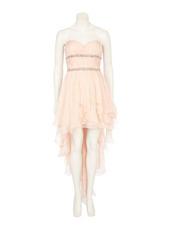 dress,pink dress,cocktail dress,strapless dress,asymmetrical