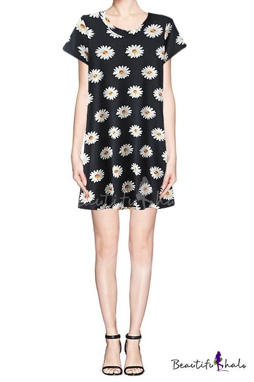 Short sleeve round neck dress in sunflower print