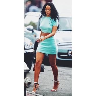 shirt rihanna mint style fashion mint dress shoes skirt