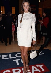 alessandra ambrosio,white dress,white,lace dress,lace,dress