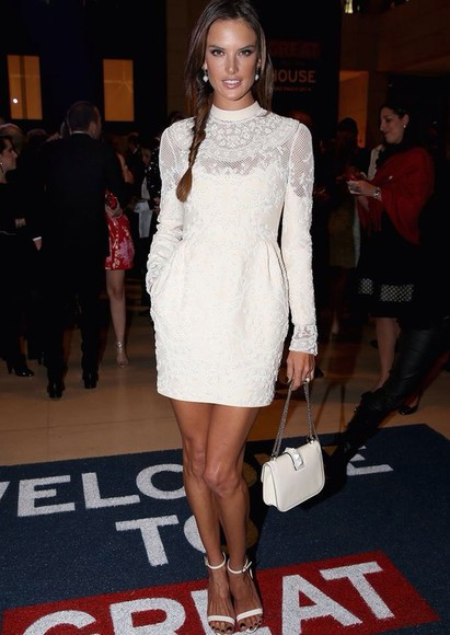 alessandra ambrosio white dress white lace dress lace