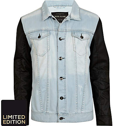 wash leather look sleeve denim jacket - denim jackets - coats ...
