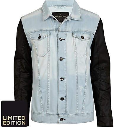 d7a041c2c Light wash leather look sleeve denim jacket - denim jackets - coats /  jackets - men