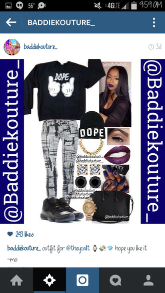 dope black and white baddiekouture_ outfit idea jeans bag jewels black sweater black beanie instagram outfit mickey mouse hands