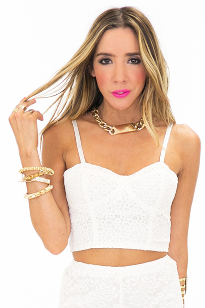 RAQUEL TEXTURED BUSTIER - White | Haute & Rebellious