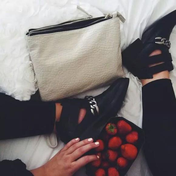 shoes bag boots black cuf clutch strawberries cutout shoes