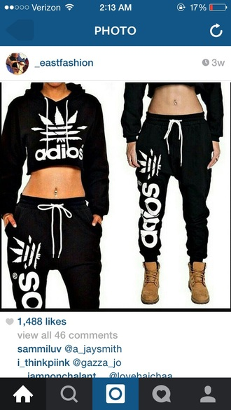 sweater cropped hoodie hoodie black crop top adidas wings style fashion swag sweatpants