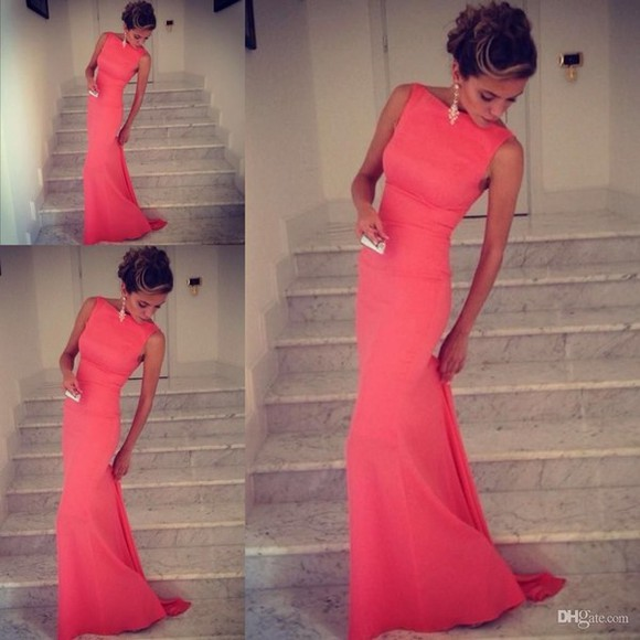 pink dress prom dress tight dress skinny dress coral solid gown