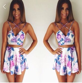 dress floral tank top crop tops skirt girly circle skirt flowers