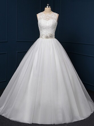 dress wedding dress wedding white wedding clothes dressofgirl style girl girly women gown ball gown dress ball bride lace lace dress tulle dress belt crystal beautiful love chic event evening dress maxi maxi dress long long dress floor length dress princess wedding dresses princess dress