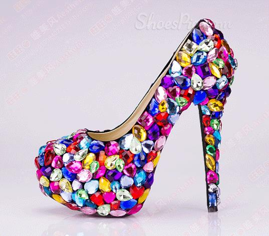 Fancy Candy Rhinestone Round Toe High Heel Shoes