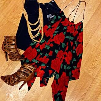 tank top ark n co rose floral top blouse dressy roses