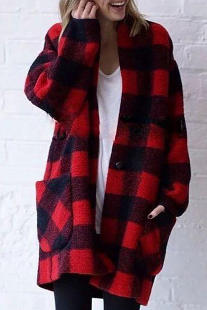 Cardigan: plaid, red, black, warm, cozy, long sleeve plaid ...