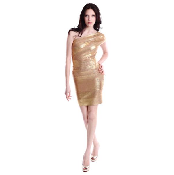 dress dress bqueen fashion girl sexy elegant chic clubwear party evening dress gold bodycon bandage bandage dress single shoulder