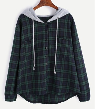 sweater plaid plaid hood hoodie grey button up