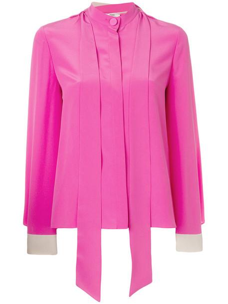 Fendi blouse women silk purple pink top