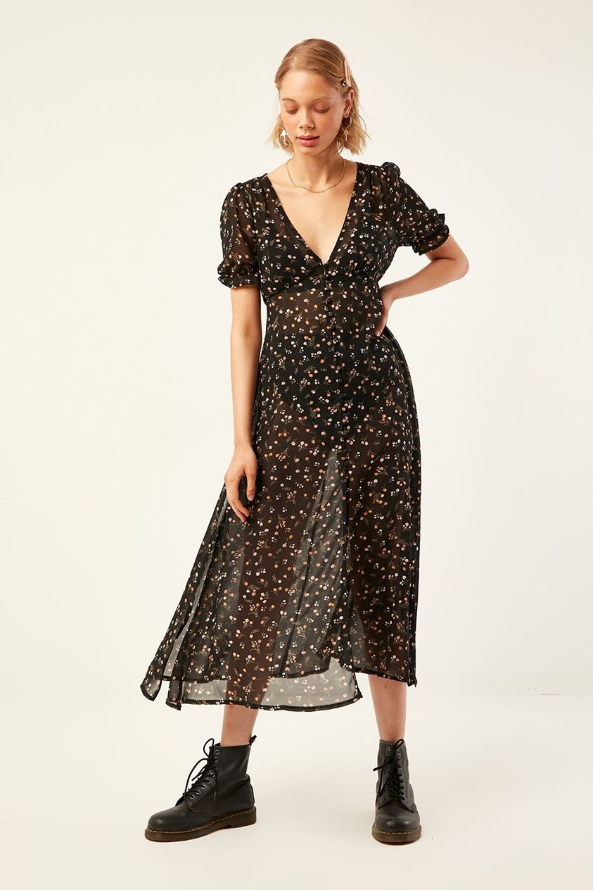 Luck & Trouble Florence Chiffon Midi Dress Black Print