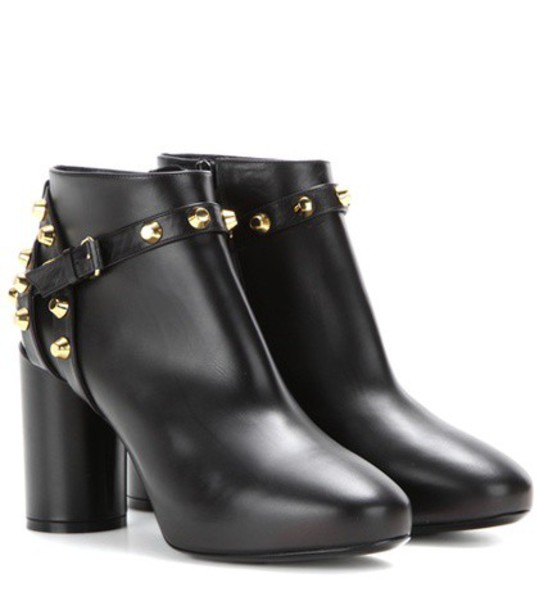 Balenciaga leather ankle boots embellished boots ankle boots leather black shoes