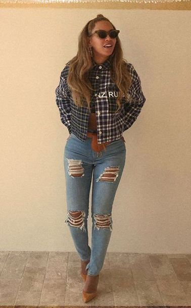jacket jeans denim ripped jeans instagram fall outfits beyonce celebrity sunglasses