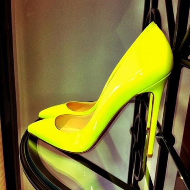 Shoes: pointed toe, pointy toe shoes, neon yellow heels, neon ...