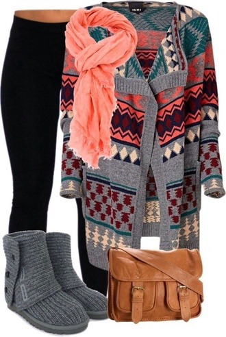 sweater clothes boots comfy comfysweater bag scarf jacket blouse coat shoes ugg boots oversized cardigan cute sweaters leggings aztec sweater aztec tribal pattern grey oversized winter outfits fall outfits cardigan grey cardigan pink scarf native print fall sweater tribal print sweater sweater coverup orange scarf pattern cardigan ichi long cardigan printed cardigan pinterest pink blue gray orange grey sweater tights jeans brown bag pants color/pattern