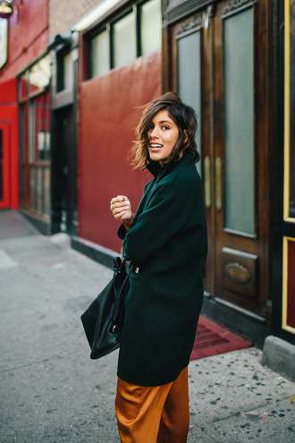 trop rouge blogger pants forest green wool coat green coat