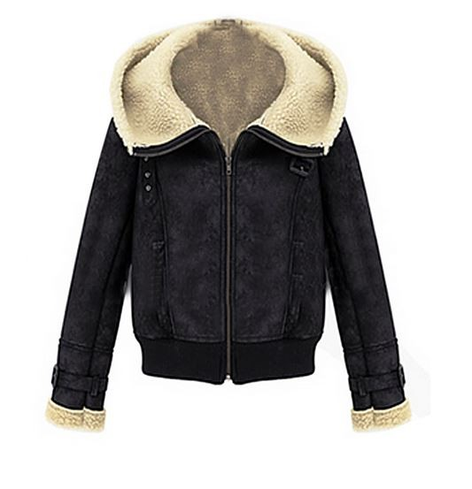 Black fleece lined lapel hooded coat