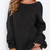 Black Long Sleeve Backless Loose Sweater -SheIn(Sheinside)