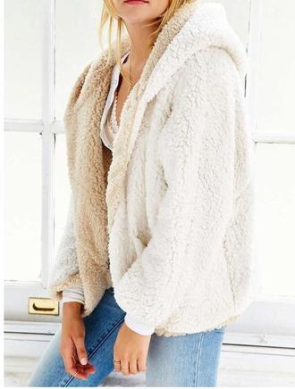 sweater girl girly girly wishlist reversible fur comfy hoodie nude cream white fluffy
