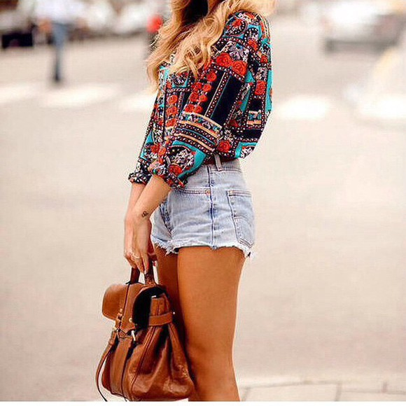 shirt hippie boho brown boho chic shorts denim denim shorts High waisted shorts boheme style bag camel
