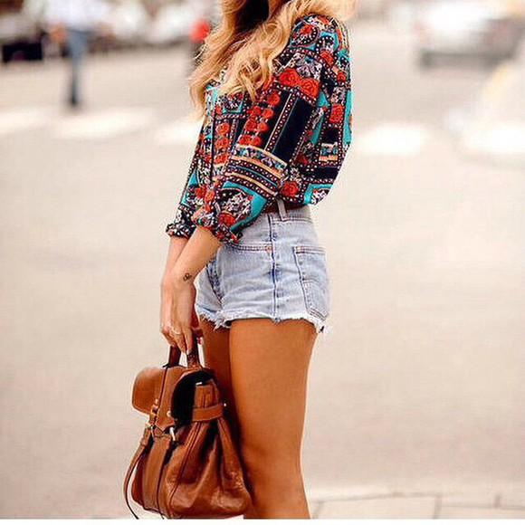 denim shorts denim High waisted shorts shirt bag shorts boheme style boho boho chic hippie camel brown