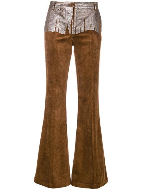 8pm women spandex cotton brown pants