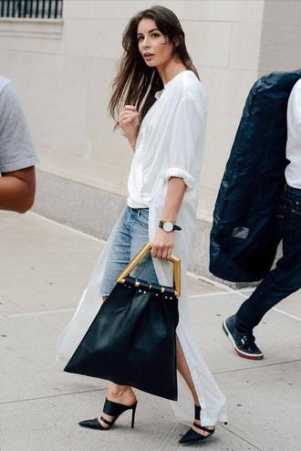 shoes mules bag asymmetrical shirt top blue jeans heels handbag high low white top jeans denim