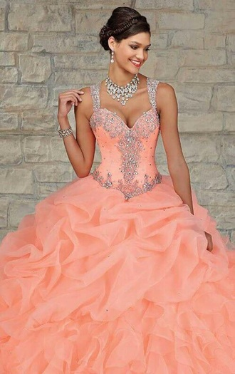 dress prom dress coral sparkle fashion quinceanera prom