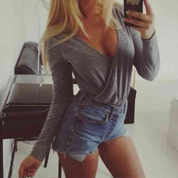 blouse crossover top grey top grey top dressy shirt long sleeves long sleeve shirt High waisted shorts High waisted shorts jean shorts. short shorts. blue