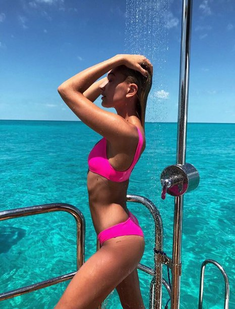 swimwear bikini bikini top bikini bottoms pink hailey baldwin model off-duty instagram summer