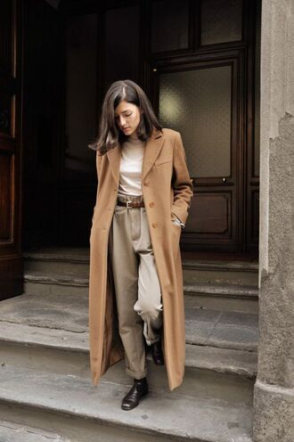 coat all beige everything masculine coat beige coat long coat pants beige pants top beige top high waisted pants boots flat boots winter outfits