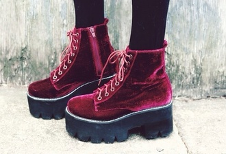 shoes red velvet shoes burgundy velvet shoes shorts platform shoes red dress velvet crushed velvet boots cute cute dress chunky sole black tumblr goth hipster hipster grunge soft grunge harajuku red cleated sole high ankle length soft ties goth dark zipper on side zip copper wedges flatforms purple cool teenagers vintage retro 90s style urban fashion style fall outfits winter outfits grunge shoes velvet boots platform boots