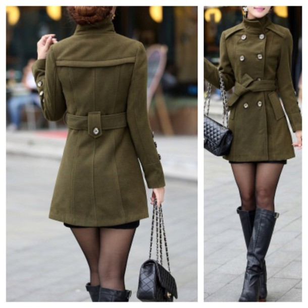 Jacket: army green jacket, green, coat, fall outfits, fashion ...