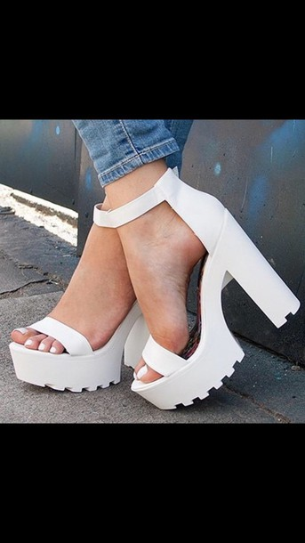 shoes, white, ankle strap heels, chunky