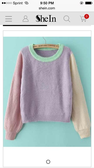 sweater pullover purple pastel loose knit