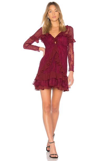 For Love & Lemons dress mini dress mini lace burgundy
